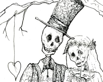 Skeleton wedding, Day of the Dead, Giclee Print, Bride Groom, Halloween Steampunk gothic valentine heart