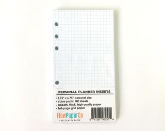 30% OFF Coupon - 100 Sheets Planner Inserts (personal size) with Grid Squared Pattern. Perfect for Filofax personal, Kikki.k medium