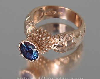 BLOOMING THISTLE 14k rose gold ring with Alexandrite