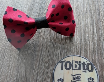 Red and black dots dog bow tie// made to order