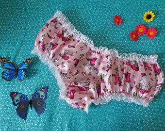 Cute Unicorn Panties - Pink Unicorn Knickers - DDlg - DDlg Panties - Pastel Pink - Sissy Lingerie - Sissy Boy - Frilly Knickers - Valentines
