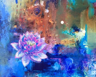 Lotus Flower // Original abstract acrylic painting // 12 x 12 in on canvas board // Free shipping