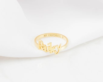 Custom Name Ring with Engraved Band • Children Name Ring • Custom Name Jewelry • New Mom Gift • Mother's Gift • VALENTINES GIFTS • RM38F17