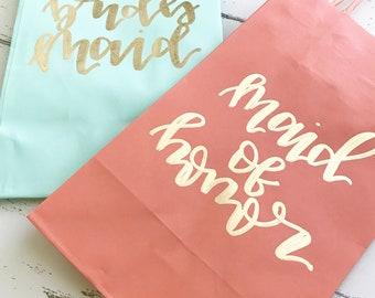 "Custom title bag- 5.25""x3.25""x8.5 gift bag, bridesmaid gift, bridal party bag, bridesmaid gift, custom gift bag, bridal party gift,"