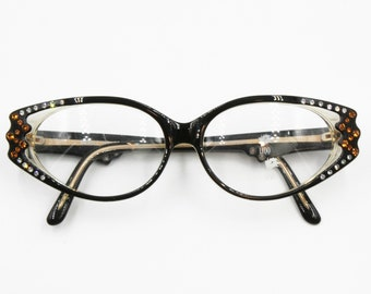Vintage Cat eye black with strass eyeglasses frame eyewear, piece of art Hand made France, New Old Stock 1960s