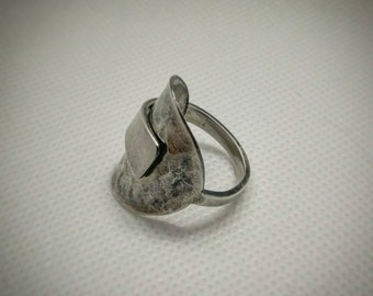Sterling Silver Spoon Ring - Upcycled Jewellery - Size O 1/2 (UK)