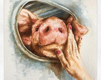 Print of Pig Vigil Watercolor