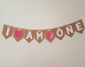 I AM ONE Bunting 1st First Birthday Party GIRL Pink Baby Shower Hanging Garland Banner Gift Cake Smash Children's birthday girls vintage