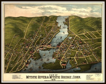 Mystic River Conn, Panoramic map, vintage map, vintage map art, vintage map decor, Old maps, vintage map prints, wall hanging,