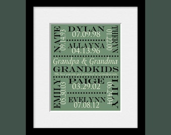 Gift for Grandparents, Grandkids Names and Birthdate Print,  Personalized Grandparent Gift, Grandparents Day, Christmas Gift