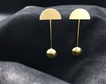 Handmade Earrings, Brass Earrings, Modern Earrings, Minimalist Earrings, Semi Circle Earrings, Drop Earrings, Futuristic Earrings, Post Back