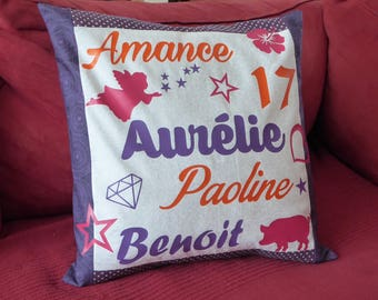 Personalized purple cushion with first names, words