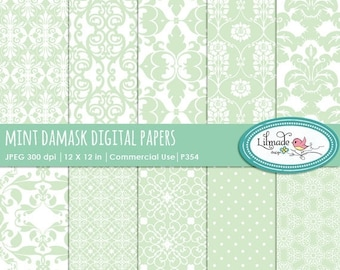 50%OFF Mint damask digital papers, digital paper, damask digital paper, vintage digital paper, commercial use, P354