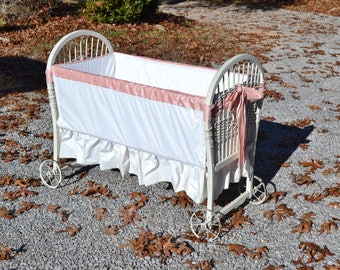 Antique Baby Bassinet Crib Cradle White Chippy Paint Woven Wicker Wood Doll Display Photo Prop PanchosPorch