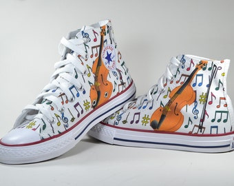 Violin music notes shoes custom made converse personalized gift painted high top sneakers