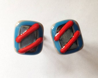 Big and Jazzy Fused Glass Cuff Links - Red, Blue and Black