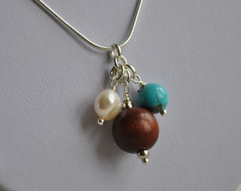Handmade pendant - Trio bead - Turquoise, freshwater pearl and wood