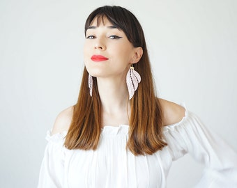 Mismatched Earrings Lace Earrings Pink Earrings Boho Earrings Long Earrings Sister Gifts For Her Fashion Earrings Inspirational/ TUBERO