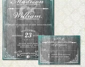 Elegant Rustic Wedding Invitation and RSVP, Fancy Wood Invite, Antique Invitation, DIY Printable Invitation, Grey Wood , DIY Invite