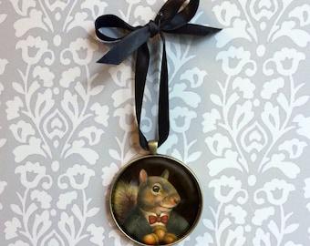 Victorian Squirrel Ornament - Squirrel Decoration - Animal Ornament - Squirrel Miniature - Gentleman Squirrel - Victorian - Anthropomorphic