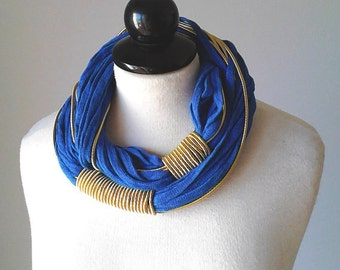 Ocean blue jewelry blue necklace blue statement necklace royal blue necklace cotton necklace blue gold necklace spring jewelry gift for wife