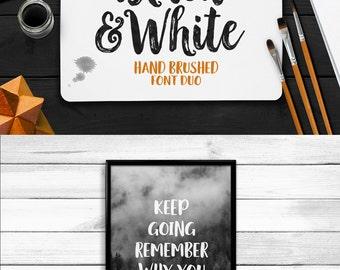 Black & White Font Duo, Handpainted Font, Handbrushed Font, Handmade Font, Brush Font, Display Font, Digital Font Download