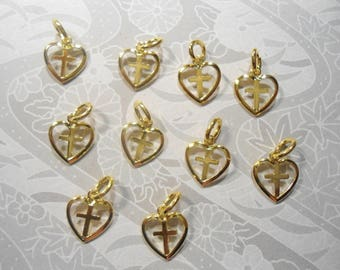 10 Goldplated 10mm Cross in a Heart Charms