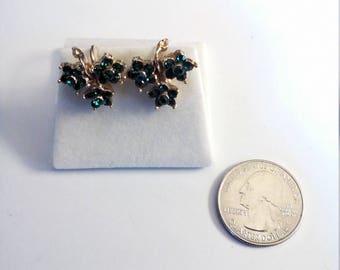 Vintage Gold Filled Multi Green Stone Screw  Back Earrings