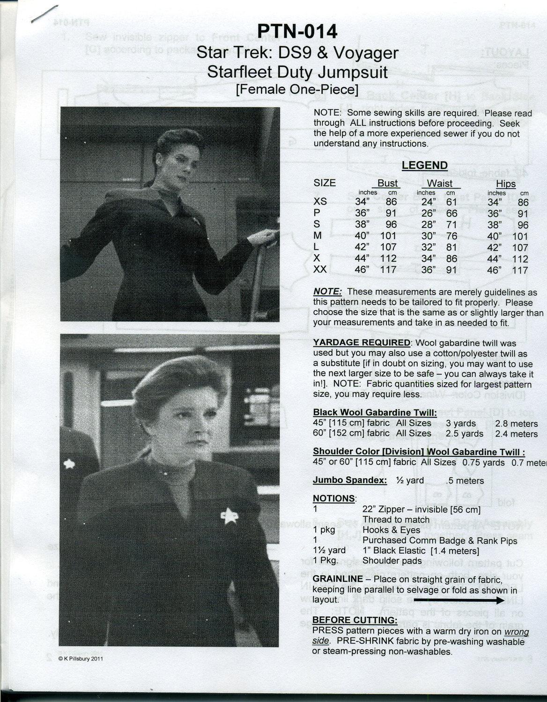 Star Trek DS9 & Voyager Female One-Piece Jumpsuit Uniform