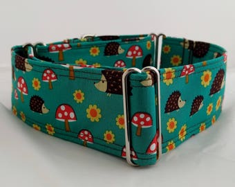 Mushrooms-Hedgehogs-Adjustable Buckle-Martingale Dog Collar-Large Breed Dog- 1.5 -2 inch width