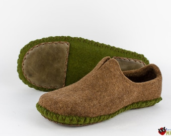 Handmade mens moccasin slippers Eco friendly felted slippers  wool house shoes organic wool