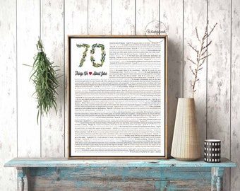 70 Things We Love About You / Gardener Gift / Gift for Gardener / 70th birthday gift for Dad / For Men / For Him  / DIGITAL Download /