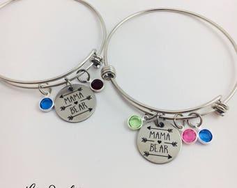 Mama Bear Bangle Bracelet, Birthstone Bracelet, Mama Bear Jewelry, Mama Bear Bracelet, Mom Jewelry, Baby Gift, Mothers Day