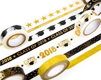 Graduation, 2018 Graduates, Craft Smart Washi Tape, Gold Foil, Sample Lengths Available