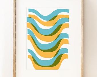 Abstract wall art print 'Waves', graphic art poster, gallery wall decor, modern art print