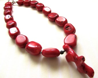 Red coral necklace Natural sea bamboo coral beads Coral branch Black lava and hematite seed beads Women's necklace Handmade Greek jewelry