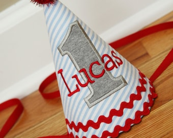First Birthday Boy Hat - Blue stripes, red, and grey  - Free personalization