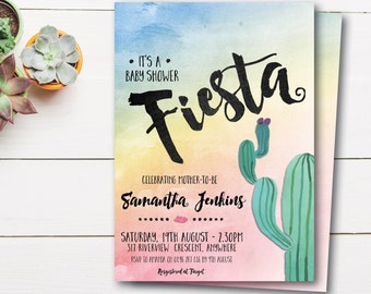 Mexican fiesta baby shower invitation, fiesta baby shower, Mexican baby shower, cactus, rainbow, desert, succulents, sunset (Samantha)