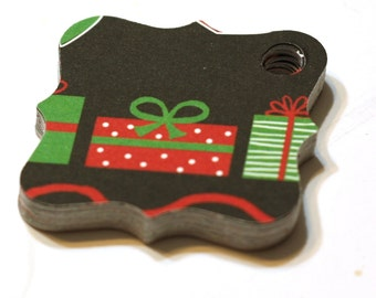 24 Assorted Red, Black, Green and White Christmas Gift Tags Feature Christmas Trees, Presents, Candy Canes and Snowflakes - hang tags