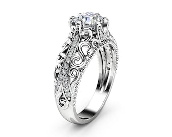 Charles Colvard Moissanite Engagement Ring 14K White Gold Art Deco Ring Moissanite Wedding Ring