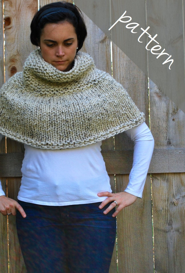 Knitting PATTERN Poncho Cape Chunky Cape Easy