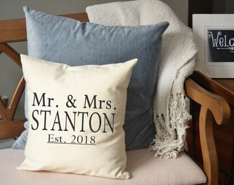 Cotton anniversary, Mother's Day gift, Personalized Mr. & Mrs. pillow, mom gift, Last name pillow, newlywed pillow, 2nd Anniversary Pillow