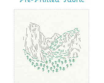YOSEMITE pre-printed fabric for embroidery, national parks embroidery, embroidery pattern, modern embroidery design by StudioMME