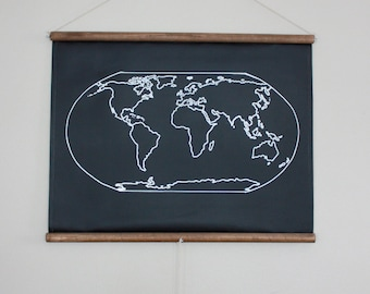 Chalkboard world map large size travel world map chalkboard world map small size travel map geography globe poster canvas homeschool decor map art traveler gift gumiabroncs Images
