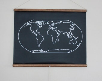 Chalkboard world map large size travel world map chalkboard world map small size travel map geography globe poster canvas homeschool decor map art traveler gift gumiabroncs