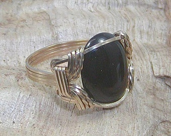 Mens Ring - Unisex Ring - Black Onyx Ring - Men's Wirewrapped Ring - Gemstone Ring - Gold Wire Ring - Gifts For Him - Fathers Day Gift