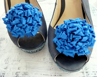 Blue Wedding Shoe Clips, Blue Flower Shoe Clips, Royal Blue Shoe Clip, Blue Shoe Clips, Something Blue Shoe Clips
