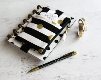 Striped planner case - mini happy planner cover - planner band - black and white planner - zippered pouch - pencil case - monthly planner