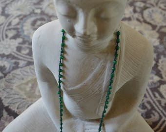 Green Jade Woven Beaded Necklace