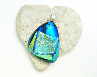 Gorgeous Aqua Dichroic Fused Glass Pendant